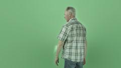 Senior caucasian man isolated on chroma green screen anger upset - stock footage
