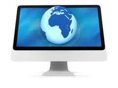 Blue Earth on computer screen Stock Illustration