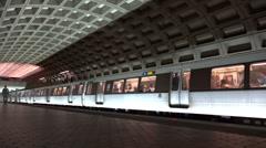 Stock Video Footage of Metro Subway departs station, passengers alight