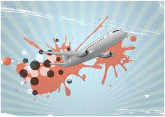illustration of airplane with stain and abstract sign - stock illustration