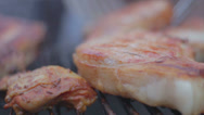 Stock Video Footage of Steaks on grill