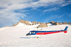 Helicoptor with winter landscape Stock Photos