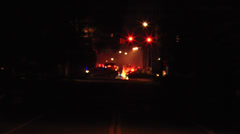 Emergency Scene at Traffic Intersection at Night Stock Footage