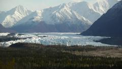 Valley Glacier, Snowy Mountains, Autumn Forest Stock Footage
