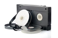 Two videotapes and reel Stock Photos