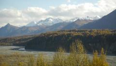 Pan Left, Snow-capped Mountains, Autumn Trees, Bluff 2 Stock Footage