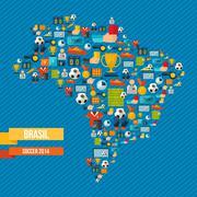 soccer icons brazil map - stock illustration