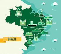 Landmark brazil map silhouette icon Stock Illustration
