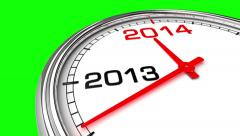 New Year 2014 Clock (Green Screen) Stock Footage