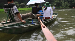 Boat tour at Tam Coc, Vietnam Stock Footage
