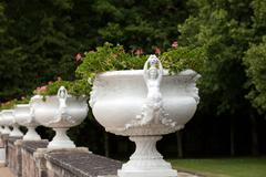 decorative flowerpots with the motif of the woman - stock photo