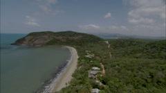 Mountains Trees Ocean Coast Stock Footage