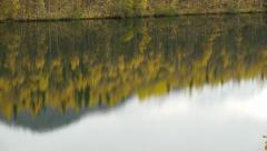 Tilt, Grey Sky, Mountin, Autumn Forest, Reflection of Trees, Reflection of Sky Stock Footage