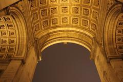 Night photo of Arc de Triomphe Stock Photos