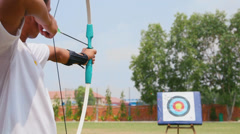 3of26 Young man training at archery, people, sports, fun, recreation - stock footage
