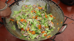Asian Traditional stir-fries Stock Footage