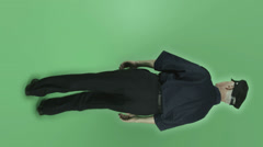 Senior caucasian vintage policeman isolated on chroma green screen thumbs down Stock Footage