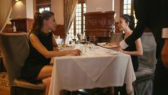 4of26 People dining at restaurant, leisure in hotel, women, friends Stock Footage