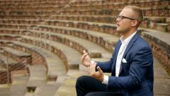 businessman talking. conversation communication. man male person - stock footage