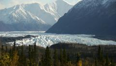 Glacier with Snowy Mountains Stock Footage