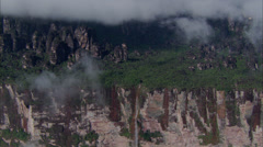 Waterfall Mountain Ridge Trees Rocky Stock Footage