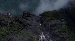 Waterfall Trees Rocky Boulders Mountain Stock Footage