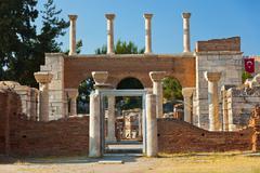 Ruins of st. Johns Basilica at Selcuk Ephesus Turkey Stock Photos