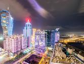Stock Photo of macau, china. spectacular view of casinos area with night lights