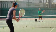 10of26 People, man and woman playing tennis, game, match, sports Stock Footage