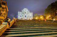 Stock Photo of ruined church of st paul in macau. beautiful lights at night