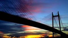 Bridge at Evening after sunset Stock Footage