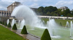 Trocadero and cannon fountains in Paris Stock Footage