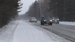 М-54. Road (highway). Winter. Siberia, Krasnoyarsk - stock footage