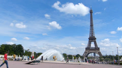 Trocadero Square and Eiffel Tower in Paris Stock Footage