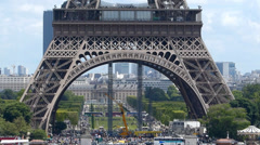 Base of the Eiffel Tower Stock Footage