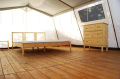 inside a large luxurious tent - stock photo