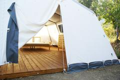 Large camping tent open - stock photo