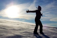 Silhoutte in snow - stock photo