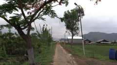 A rural pathway in a hilly rainy terrain Manipur, India Stock Footage