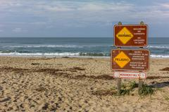 Sign Warns of Rip Currents Stock Photos