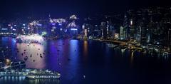 Hong Kong 2013 countdown fireworks - stock photo