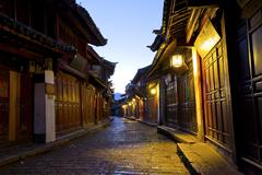 Lijiang old town at morning, China. - stock photo