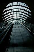 Stock Photo of Canary Wharf tube station escalators