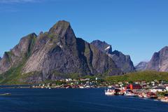 Fishing Village on Lofoten Stock Photos