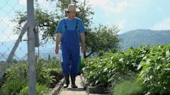 Gardener with hat walking in the garden Stock Footage