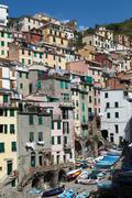 Riomaggiore - one of the cities of cinque terre in italy Stock Photos