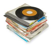 Close up of old vinyl records Stock Photos