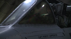 A-10 Warthog jet fighter aircraft at night Stock Footage