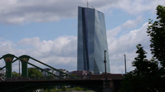 New ECB EZB European Central Bank Building Frankfurt 2 Stock Footage
