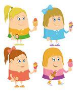 Little girls with ice cream, set Stock Illustration